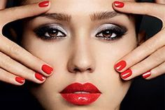 silver eye makeup with red lipstick - Google Search