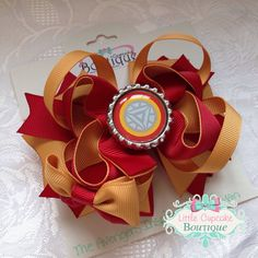"""Iron Man (Tony Stark)- Marvel Avengers Movie Inspired 4.5"""" Boutique Hair Bow with Bottle Cap on a French Barrette- Robert Downey Jr. on Etsy, $10.99"""