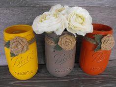 Shabby Country Chic  Dairy Farm Barnyard  Wedding Mason Jar  Centerpieces Home Decor on Etsy, $8.00