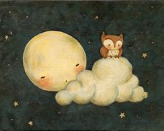 Owl Say Goodnight - Childrens Art, Nursery Art, Owl, Moon, Night, Bedtime, Stars, Baby, Cute, Kids Art, Blue, Yellow, Bedtime, Starry Sky    A baby