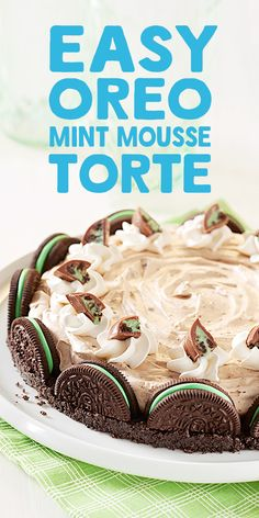 Delight your family and friends with this OREO Mint Mousse Torte recipe that includes OREO cookies and OREO Mint Chocolate Candy.  Don't let the fancy name fool you—this dessert is no-bake, and simple to make. Simply chill in the refrigerator for an hour before serving.