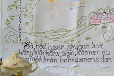 Linen  wall hanging embroidery vintage Swedish cottage wisdom words