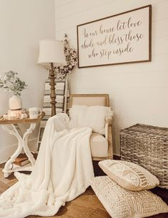 #Rustic farmhouse living room style by Kayla Herndon~ Vintage chic home #decor with vintage sign and cozy Antique Candle Works #natural soy candle - modern handmade #farmhouse ideas for the inspirational blogger