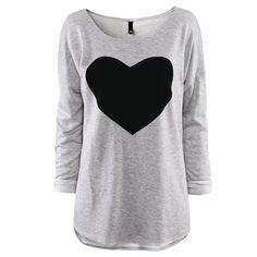Heart Printed Crewneck Loose Women Long Sleeve T Shirt Grey