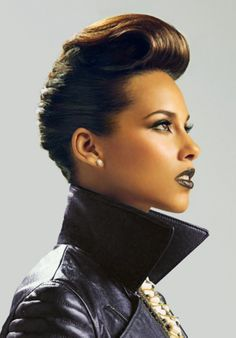 The Look: Alicia Keys female celebrity musician facial profile portrait photography #headshot #shorthair #leather T: AliciaKeys <3