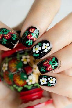 Más de 60 fotos de uñas decoradas con flores #nails #blackpolish #floral #nailart - bellashoot.com