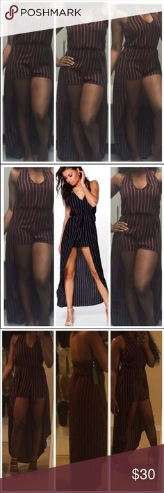 NWT Halter Striped Romper Dress Brand new romper. Only tried it on. Halter neck and open back. Has a flowing overlay around it. No strings or ties. Tags still attached. Boutique bought. No brand. Perfect for summer or the beach. Im 5'2 for reference. High low design with sheer wrap and shorts underneath. Black wih red pinstripes. If you love these brands: 🌸 hello molly 🌸 missguided 🌸 nasty gal 🌸 tobi 🌸 boohoo 🌸 house of cb You will love this! Fashion Nova Pants Jumpsuits & Rompers