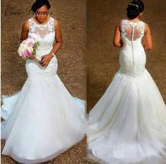 Illusion Back With Button African Mermaid Wedding Dress 2019 New Sleeveless Plus Size Pure White wedding gown Bride Dress W0389(China)