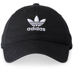 adidas Originals Cotton Relaxed Cap (80 BRL) ❤ liked on Polyvore featuring accessories, hats, black, adidas, cotton cap, adidas hat, bills hat and cap hats