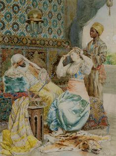 Ettore Simonetti  (Italian Painter1857-1909)    -    The Favoured Beauty