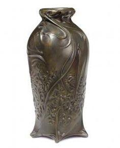 "Hector Guimard (1867-1942) - Bronze Vase. Patinated Bronze. Circa 1900. 5-5/8"" (14.2cm)."