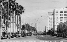 (1930) Postcard view looking east on Hollywood Boulevard from La Brea Avenue.