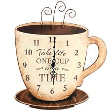 New Take Life One Cup At A Time Espresso Coffee Wooden Wall Clock Kitchen Decor