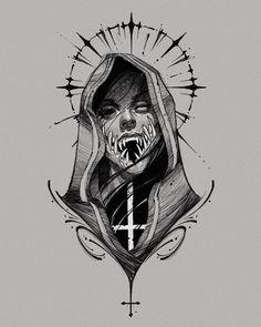 """Instagram의 G.ghost님: """"Available! 작업가능한 스케치입니다. #blackwork #tattoo #blackworktattoo #darkartist #tattooflash #drawing #illustration #ipaddrawing…"""" Trippy Drawings, Tattoo Design Drawings, Art Drawings Sketches, Fear Tattoo, Norse Tattoo, Illuminati Drawing, Black Ink Art, Old School Tattoo Designs, Heavy Metal Art"""