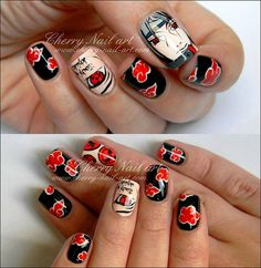 Naruto Nails, Anime Nails, Uñas Color Neon, Beauty Nails, Beauty Makeup, Cherry Nails, Manicure Y Pedicure, Best Acrylic Nails, Itachi