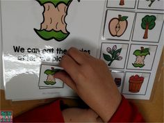Apple thematic unit: using theme vocabulary and interactive books to encourage attending, labeling, and comprehension skills. Perfect for students in special education, with autism or other language based disorders.
