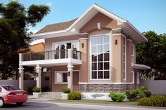 These 2 story house collection features 28 stunning beautiful designs of houses from 2 to 5 bedrooms. Two Story House Design, House Front Design, Design Your Dream House, Small House Design, Modern House Design, Small House Floor Plans, Dream House Plans, Kerala House Design, Bungalow House Design