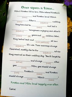 wedding mad libs to put in a guestbook..love this idea!!