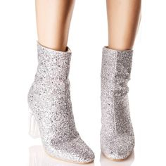 Silver Glitter Perspex Boot ($45) ❤ liked on Polyvore featuring shoes, boots, ankle booties, silver boots, sparkly ankle boots, block heel booties, ankle boots and silver booties