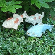 Ceramic Garden Fish - Would be super cute in ground cover $79.99