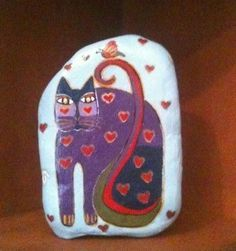 Whimsical Cat Stone Rock Art Figurine Red Hearts Butterfly Hand Painted Signed