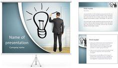 Empresário lâmpada desenho na parede Modelos de apresentações PowerPoint