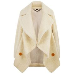 Burberry Runway Shearling Teddy Bear Pea Coat (13,485 AED) ❤ liked on Polyvore featuring outerwear, coats, waterfall coats, sheep fur coat, burberry coat, burberry peacoat and brown shearling coat