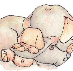 LoxlyHollow My Baby Elephant Print Image Elephant, Elephant Love, Elephant Art, Elephant Nursery, Scrapbooking Image, Baby Elefant, Images Kawaii, Tatty Teddy, Baby Art