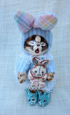 "5"" Tall  Papier Paper Mache Cat In Bunny Suit Doll Signed by Artist Jan Zimmer"