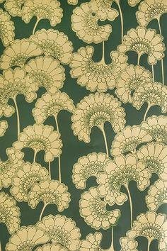 Japanese Floral Wallpaper Striking Japanese Floral Wallpaper in rich dark jade with matte gold floral print.