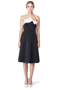 Erin Fetherston - Black Satin Flower A-line Dress - Fit & Flare - The Dress Shop