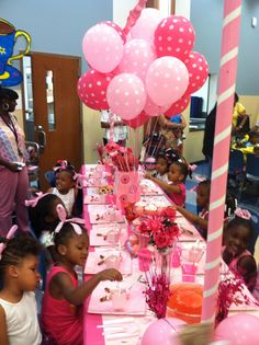 Pre-K Pink Mother-Daughter Tea Party (every grade decorates with a different color... together it is a school wide Rainbow Tea Party)