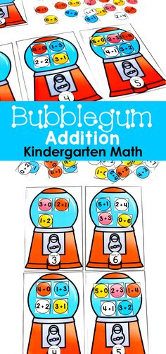Bubblegum Addition for Kindergarten! Plus, tons of other fun math centers and math games to teach basic addition in hands-on ways!