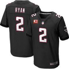 Nike Atlanta Falcons #2 Matt Ryan Black C Patch Elite Jersey
