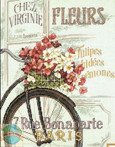 Bicycle with flowers poster Parisian Bicycle and flower cross stitch. I would love to stitch this for my sister who is always on her bicycle. Decoupage Vintage, Decoupage Paper, Images Vintage, Vintage Cards, Vintage Paper, Vintage Pictures, Cross Stitching, Cross Stitch Embroidery, Cross Stitch Patterns