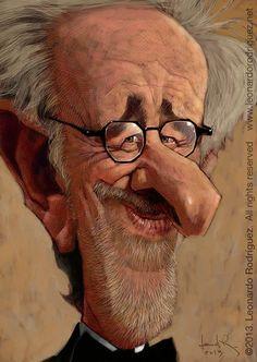 Steven Spielberg. Caricaturas de Famosos: Leonardo Rodríguez