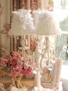 Crystals And Lace Lampshades Find This Pin More On Lovely Shabby Chic Lighting