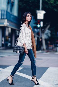 Fringe top, jeans & camel suede jacket outfit