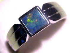 Australian Mintabie Opal & Solid Sterling Silver Ring #Ouorbrand #Band