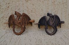 womens Wood Dragon Hair Barrette Gift for Her Hair Pin