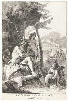 Giovanni Domenico Tiepolo | Riviergod en twee jonge mannen en putto op oever, Giovanni Domenico Tiepolo, 1748 - 1752 |
