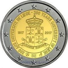 Moeda 2 Euros Comemorativa  Bélgica 2017 - 200º aniversário da Universidade de Liège