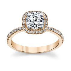 Simon G. 18K Rose Gold Diamond Engagement Ring Setting: loving rose gold