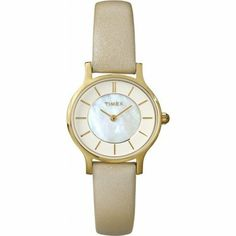 Timex T2P313 Ladies Classic Cream Leather Strap Watch