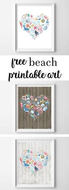 These rustic, nautical-themed free printables are perfect for the beach-lover in your life. Featuring your choice of three different backgrounds, and watercolor ocean-inspired items, these are some of my favorite summer printables to date! Beach Wall Decor, Wall Art Decor, Free Printable Art, Free Printables, Printable Templates, Watercolor Ocean, Free Beach, Free Prints, Summer Art