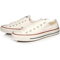 Converse White Chuck Taylor All Star Low Trainers (€62) ❤ liked on Polyvore featuring shoes, sneakers, all star, converse, rubber sole shoes, white lace up shoes, lacing sneakers, lace up sneakers and white canvas shoes