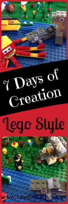 7 Days of Creation Lego Project Lego Activities, Church Activities, Bible Study For Kids, Bible Lessons For Kids, Lego Bible, 7 Days Of Creation, Lego Challenge, Preschool Bible, Kids Church