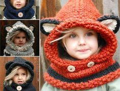 Women's Winter Hats 2016 fox scarf hat autumn winter scarf wool knitted cap baby winter hat balaclava children's hats new Year - Kapuzenschal Stricken Fox Scarf, Fox Hat, Scarf Hat, Baby Scarf, Bonnet Crochet, Knit Crochet, Crochet Hats, Free Crochet, Crochet Winter