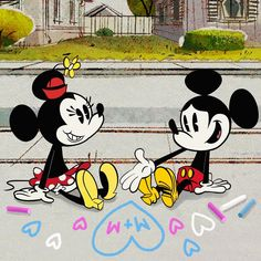 Chalk it up to true ❤️! Leave a love note to your sweetheart👇. Mickey And Minnie Kissing, Mickey Mouse Shorts, New Mickey Mouse, Mickey Mouse Cartoon, Mickey Mouse And Friends, Disney Images, Walt Disney Pictures, Disney Love, Disney Mickey