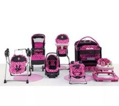 7 pc set minnie mouse #baby nursery high chair swing  car seat bouncer pack play from $599.99
